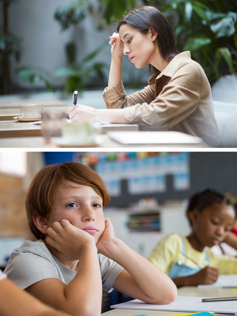 split-image-confused-young-woman-working-on-homework-and-frustrate-school-boy-in-class